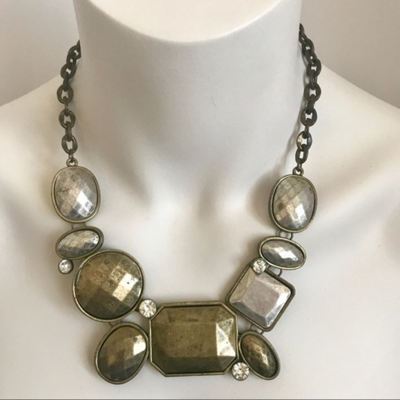 Vintage Jewelry - Stunning Statement Crystal Chunky Chain Necklace L